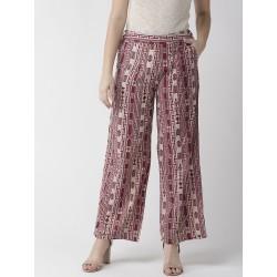 индийские брюки бежевые с бордовым принтом 2XL размер