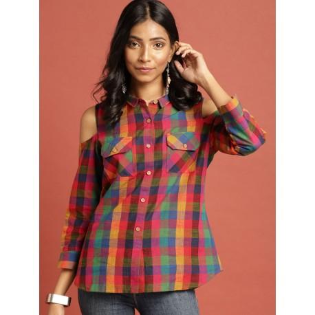 индийская рубашка в клетку с открытыми плечами S размер