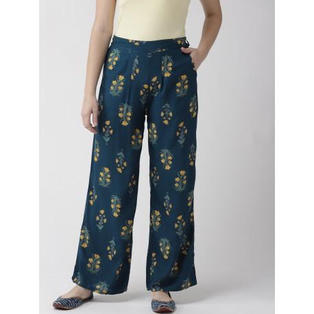 индийские штаны бирюзовые с желтыми цветами 2XL
