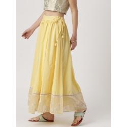 индийская хлопковая длинная желтая юбка М размер