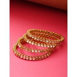 индийские браслеты золотистые кундан 4 штуки