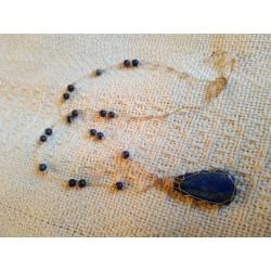 подвеска  с натуральными камнями синяя