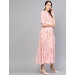 персиковое индийское платье с принтом L размер