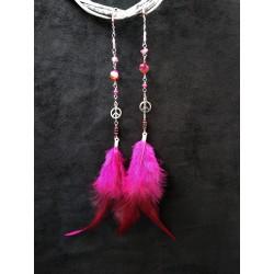 серьги ручной работы розовые с перьями