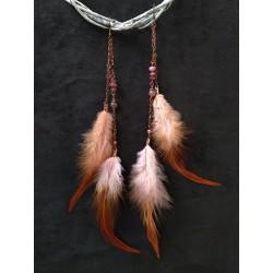 серьги ручной работы коричневые перья