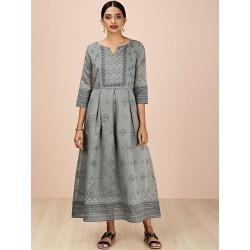 индийское платье серое с рисунком XS размер
