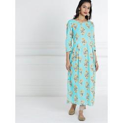 голубое платье с желтыми цветами М размер