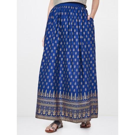 длинная синяя индийская юбка S размер