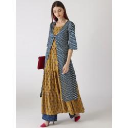 индийская синяя накидка с белым принтом М размер