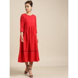 индийское платье красное S