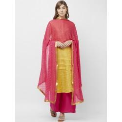 индийская дупатта розовая с золотом