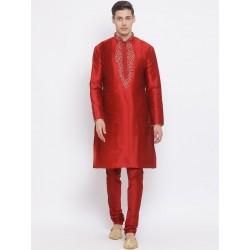 мужской индийский костюм - курта и чуридары - красные, 2XL