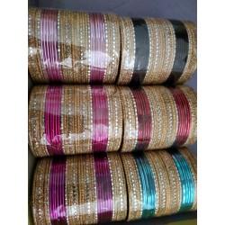 индийские браслеты комплект 14 штук разноцветные