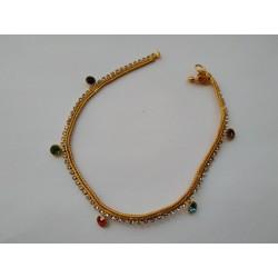 индийские ножные браслеты с разноцветными стразами