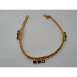 индийские ножные браслеты с разноцветными стразами (пара)