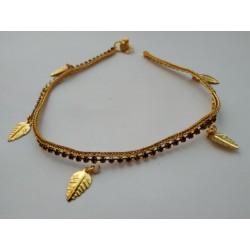 индийский ножной браслет с лиловыми стразами и листиками
