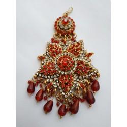 индийское украшение на прическу джумар красный