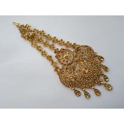 индийское украшение на прическу джумар золотистая