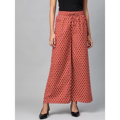 индийские брюки красные с белым рисунком M