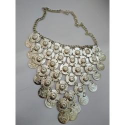 индийское ожерелье монисто серебристое