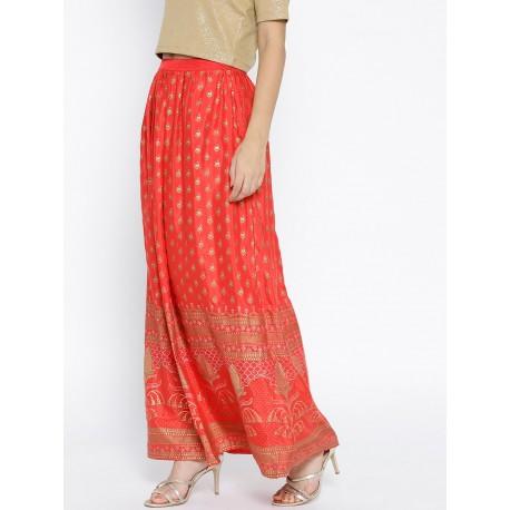 индийская красная длинная юбка М