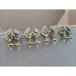 индийские серьги джумки павлины цветные