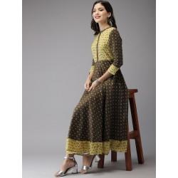 индийское платье анаркали с принтом S