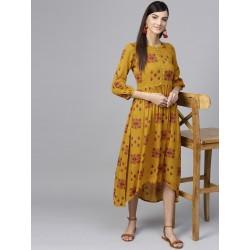 индийское платье горчичного цвета  XS/ М