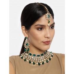 комплект индийских украшений зеленый - ожерелье, тика, серьги
