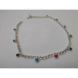 индийские браслеты паялы с цветными стразами в серебре (пара)