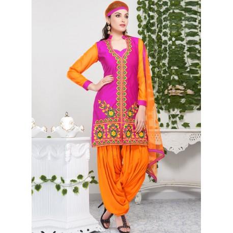 индийский костюм оранжевый с розовым М размер