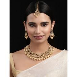 комплект индийских украшений - пара серег, ожерелье, тика