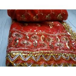 индийская дупатта красная с золотой вышивкой