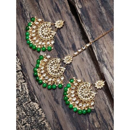 индийские украшения - серьги и тика - с зелеными бусинами