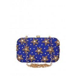 индийская сумочка клатч синяя с вышивкой