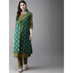 индийский комплект одежды: туника, брюки, накидка - М
