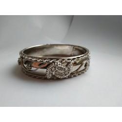 одиночный никелированный индийский браслет со стразами