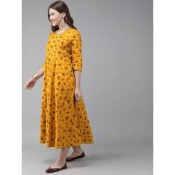 индийское миди платье желтое с цветами S