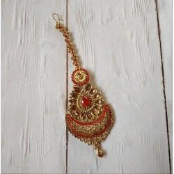индийская тика украшение на пробор красная