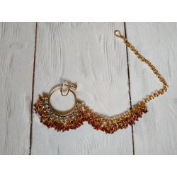 индийское украшение на нос кольцо с цепочкой бордовый цвет