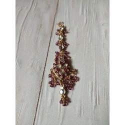индийская тика с розовыми камнями и бусинами