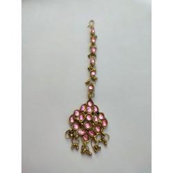 индийская тика украшение на пробор на прическу розовая
