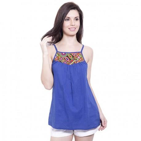 индийская блузка синего цвета с вышивкой размер S
