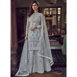 ткань для пошива индийского костюма cерый с вышивкой
