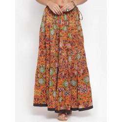 индийская длинная юбка оранжевая М