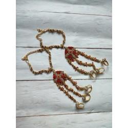 индийское украшение на руку - 3 кольца с браслетом (пара)