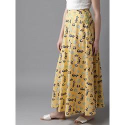 длинная индийская юбка желтая с цветами L