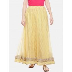 индийская юбка желтая с золотистым принтом S/M