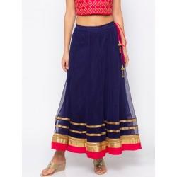 длинная индийская юбка синяя M