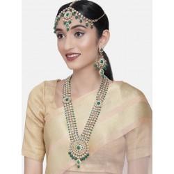 свадебный индийский комплект украшений зеленый